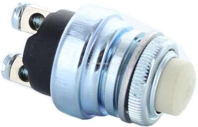 Citroen-2CV Druckschalter universal, mit weißem Druckknopf (z.B. Motor Startknopf). 16mm Einbauöffnung