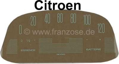 Citroen-2CV Tacho Scheibe (120km/H), bedruckt (für den ovalen Veglia Tachometer, 12 Volt). Passend für