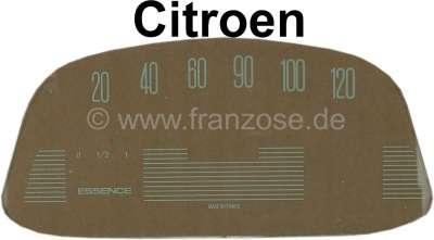 Citroen-2CV Tacho Scheibe (120km/H), bedruckt (für den ovalen Veglia Tachometer, 6 Volt). Passend für
