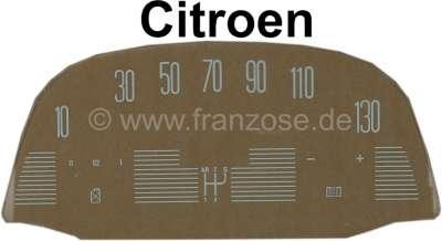 Citroen-2CV Tacho Scheibe (130km/H), bedruckt (für den ovalen Jaeger Tachometer, 12 Volt). Passend für