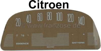 Citroen-2CV Tacho Scheibe (140km/H), bedruckt (für den ovalen Veglia Tachometer, 12 Volt). Passend für