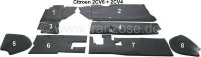 Citroen-2CV Dämmbezug für die Stirnwand im Innenraum (8-teilig). Komplett für oben und unten, incl. Ar