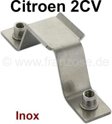 Citroen-2CV 2CV6, Auspuffhalterung 2CV6, vorne, aus Edelstahl! Der Halter wird unter dem Bodenblech ve