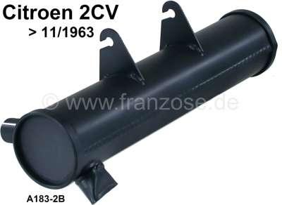 Citroen-2CV 2CV alt, Nachschalldämpfer für Citroen 2CV bis Baujahr 11/1963.  Guter Nachbau! Runder Ein