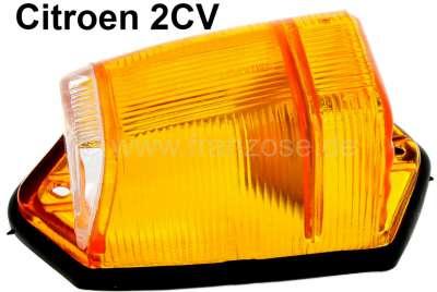 Citroen-2CV Blinkerkappe gelb (mit vorderen weißen Glas-Einsatz), ohne Fassung. Dieser Blinker wurde s
