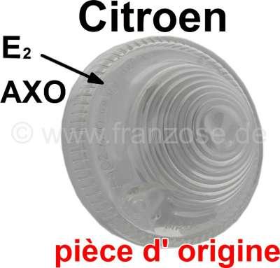 Citroen-2CV Blinkerkappe weiß (Original AXO, mit Prüfzeichen). Passend für Citroen 2CV vorne. Citroen