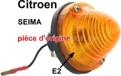 Citroen-2CV Blinker komplett (orange), original Seima 3054. 3055 (kein Nachbau, mit Prüfzeichen). Meta