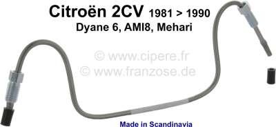 Citroen-2CV Bremsleitung aus Edelstahl. Verbindung vom rechten Bremssattel zu dem linken Bremssattel.