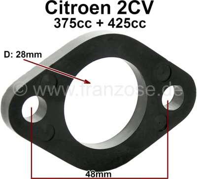 Citroen-2CV Vergaserfußdichtung, Abstandsplatte. Verbaut in Citroen 2CV mit 375 + 425ccm mit runden Ve