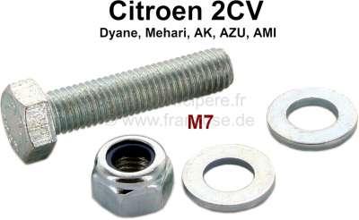 Citroen-2CV Schaltstange: Schraube M7, für die Klemmschelle (Schaltstange auf dem Getriebe). Incl. Mut