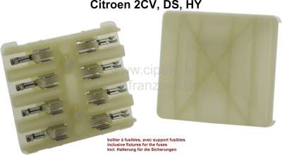 Citroen-2CV Sicherungskasten mit Deckel. Farbe beige-grau. Für 4 Glassicherungen. Incl. Halterungen fü