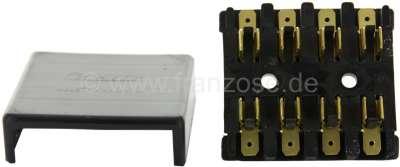 Citroen-2CV Sicherungskasten mit Deckel. Farbe schwarz. Für 4 Glassicherungen. Nachbau. Anschluß: Flac