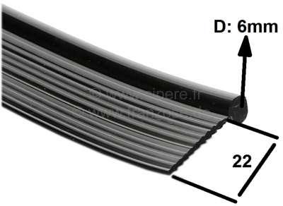 Citroen-2CV Kotflügelkeder in schwarz, universal passend, per Meter. Kundenzuschnitt-Rückgabe nicht mö