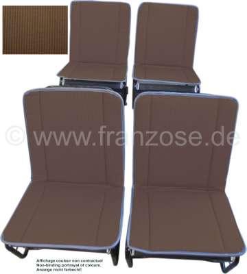 Citroen-2CV 2CV alt, Sitzbezüge vorne + hinten, Hängematte, braun-beige gestreift (Bayadère Marron). K