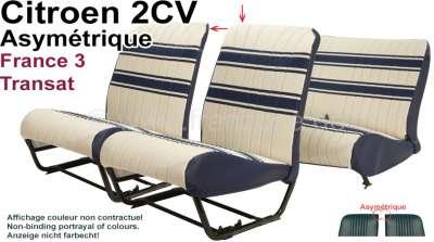 Citroen-2CV Sitzbezug 2CV (France 3 - Transat)) vorne + hinten. Asymmetrische Rückenlehnen. Stoff: wei
