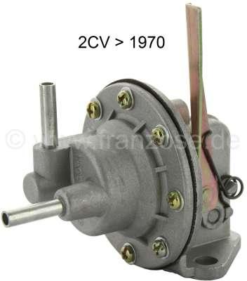 Citroen-2CV Benzinpumpe für 2CV bis 1970! Waagerechter Zulauf, mit Handpumpenhebel! Nach vielen Jahren