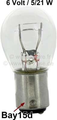 Citroen-2CV Glühlampe 6 Volt, 21/5 Watt. Sockel Bay 15d. 25x47mm, Zweifadenlampe für Brems-Rücklicht!