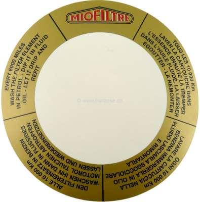Citroen-2CV Aufkleber Luftfilter MioFiltre rund, für Citroen 2CV.