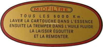 Peugeot Aufkleber Luftfilter. Nachdruck von dem originalen Aufkleber (goldfarbig, rote Umrandung).