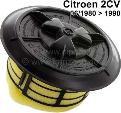 Citroen-2CV Luftfiltereinsatz 2CV6, ab Baujahr 06/1980. Komplett mit Verschlussdeckel schwarz. Markenh
