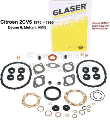 Citroen-2CV 2CV6, 602ccm, Motordichtsatz incl. Simmerringe und Ventilschaftringe. Passend für Citroen