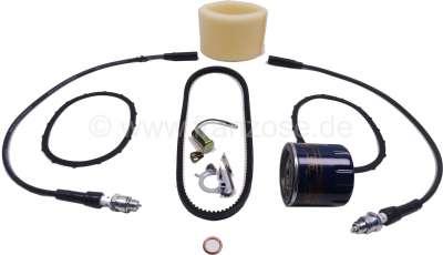 Citroen-2CV Inspektionskit für Citroen 2CV6. Bestehend aus: 1x Ölfilter + Dichtung, 1x Keilriemen, 2x