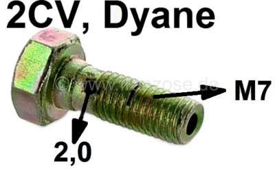 Citroen-2CV Ölleitung Hohlschraube 2CV6, M7, für die Verschraubung am Motorblock (große Bohrung 2,0mm)