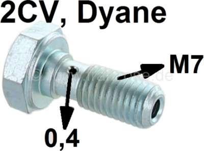 Citroen-2CV Ölleitung Hohlschraube 2CV6, M7, für die Verschraubung am Zylinderkopf. (kleine Bohrung. 0