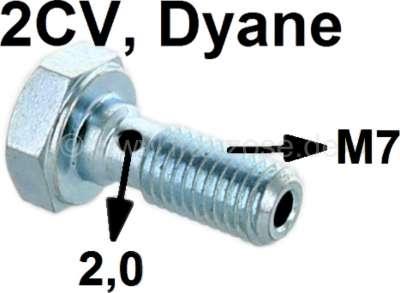 Citroen-2CV Ölleitung Hohlschraube 2CV6, M7, für Verschraubung am Motorblock. (große Bohrung 2,0mm). H