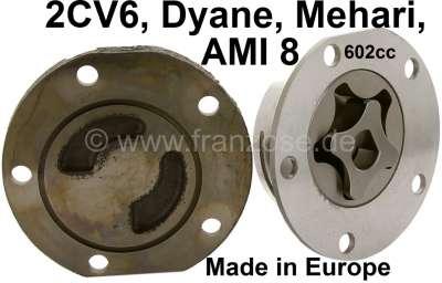 Citroen-2CV Ölpumpe für 2CV6, incl. Alugehäuse + Verschlußplatte. Made in Europe. Das Pumpenrad ist 10