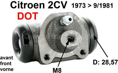 Citroen-2CV Radbremszylinder vorne, Bremssystem DOT. Passend für Citroen 2CV, von Baujahr 1973 bis 9/1