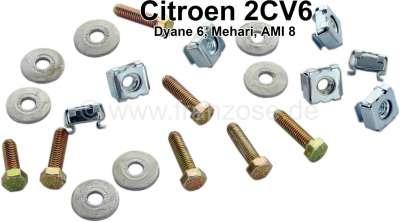 Citroen-2CV Gummi Schraubensatz (Befestigung Gummi vor der Zündung, im Motorlüftergehäuse). Passend fü