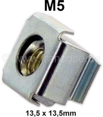 Citroen-2CV Käfigmutter M5 (Kastenmutter). Aussenabmessung: 13,5 x 13,5mm. Passend für Citroen DS, 2CV
