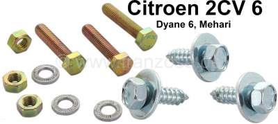 Citroen-2CV Lüfterflügel Schraubensatz (6 Stück). Passend für Citroen 2CV6, Dyane 6.