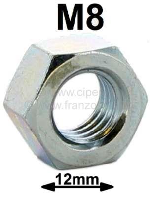 Peugeot M8, Mutter für 12er Schraubenschlüssel. (Metall) (z.B. Vergaser auf Ansaugkrümmer 2CV). (M