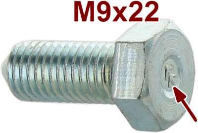 Citroen-2CV M9x22, Schraube verzinkt, mit Citroenzeichen (Chevrons). 14mm Schraubenkopf. Steigung: ISO
