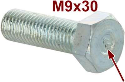 Citroen-2CV M9x30, Schraube verzinkt, mit Citroenzeichen (Chevrons). 14mm Schraubenkopf. Steigung: ISO