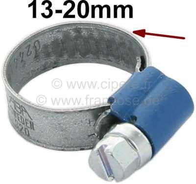 Citroen-2CV Schlauchschelle 13-20mm, speziell für Kühlerschlauch. Nostalgische Optik. Geprägtes Band m