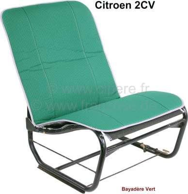 Citroen-2CV 2CV alt, Sitzbezug Hängematte grün gestreift (Bayadère Vert). Per Stück. Vorne + hinten pa