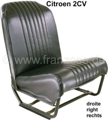 Citroen-2CV Sitz rechts komplett (symetrisch), Kunstleder schwarz (Neuteil). Design: die Oberfläche is
