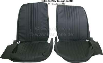 Citroen-2CV 2CV, Sitzbezug Vordersitz (2x) links + rechts. Asymetrisch, Kunstleder schwarz, die Oberfl
