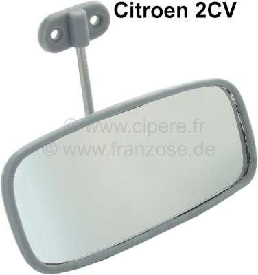 Citroen-2CV Innenspiegel, alte Version, Farbe: grau. Schlechter Nachbau, aber es gibt leider keine and
