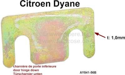 Citroen-2CV Dyane, Distanzscheibe 1mm dick, für das untere Türscharnier (vorne + hinten). Passend für