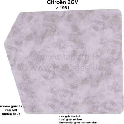 Citroen-2CV Türverkleidung hoch, hinten links. Passend für Citroen 2CV, ohne Abdeckung aus Kunststoff.
