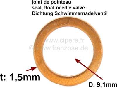 Citroen-2CV Dichtung Schwimmernadelventil. Innendurchmesser: 9,1mm. Aussendurchmesser: 11,9mm. Dicke: