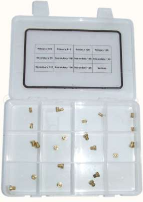 Citroen-2CV Vergaserdüsensatz für 2CV6, ovaler Vergaser.  1 Stufe: Düsen von 95 bis 125. 2 Stufe: Düse