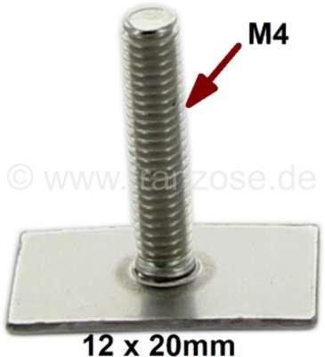 Citroen-2CV Klammer für Zierleisten, Leistenschraube: 12x20mm. Universal passend. Gewinde: M4 x 19mm.