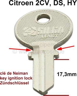 Citroen-2CV Zündschloss Schlüsselrohling, passend für Citroen 2CV, DS, HY. (kleine Version, Zündschlüs