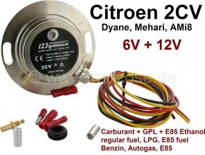 Citroen-2CV Elektronische Zündanlage 12 Volt, mit Unterdruckanschluß und einstellbare Kraftstoffe. Für
