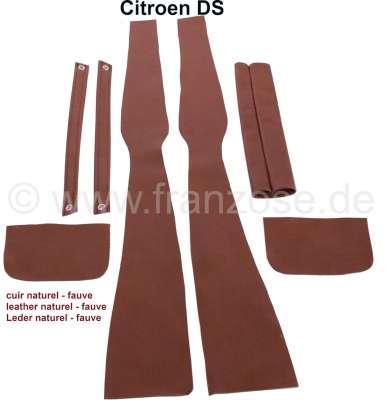 Citroen-DS-11CV-HY B-Säule Verkleidung (links + rechts). Passend für Citroen DS. Material: Leder braun.